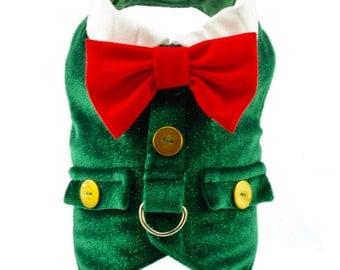 Green Velvet Dog Holiday Harness Vest