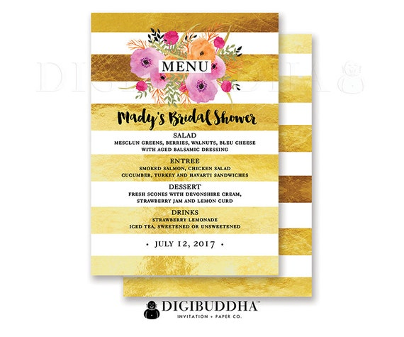 bridal shower menu wedding menu baby shower menu reception menu