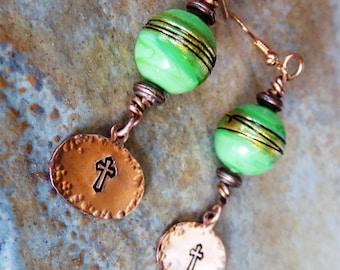 Green glass bead rustic copper stamped earrings cross earrings