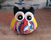 Black Colorful Owl Keychain / Bag Charm Handmade