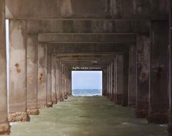 Under Pier Photo, Clearwater Pier 60 Photography, Florida Travel Art, Tropical Coastal Beach Boat House Decor, Nautical Home Decor Wall Art