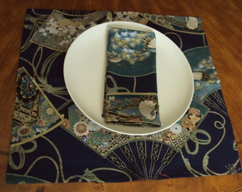 cloth napkins, Oriental fans, eco friendly napkins, placemats, birthday gift, wedding gift