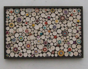 Wood Wall Art,Abstract Painting,  Modern Wood Sculpture, Rustic ,Painted Tree Rings, Circles, Modern, Bulls eye