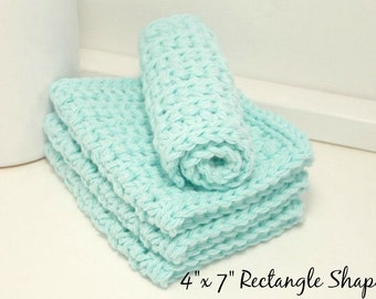 Cotton Crochet Dishcloths - Robins Egg Blue 4 Inch x 7 Inch Rectangular Crochet Cotton Dish Cloths - Housewarming Gift - Set of 4