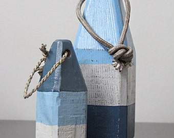 Coastal Decor Set Blue White Navy Lobster Buoy Nautical Wooden by SEASTYLE