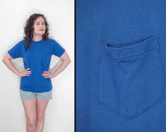 Blue Pocket Tee Shirt 1980s USA Cobalt Unisex Men's S Women's Med