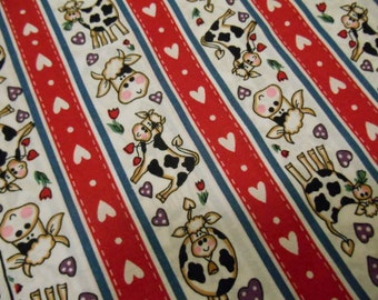 """Cows and Hearts Fabric  1yd. 6"""" x 40"""""""