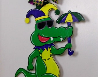 Mardi Gras Door Hanger, Alligator Door Hanger, Mardi Gras Umbrella, Mardi Gras Alligator, Carnival Door Hanger, Mardi Gras,