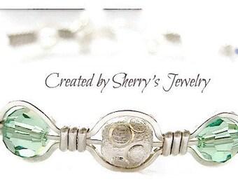Silver bangle, Silver Bracelet, Crystal Bracelet, Green bracelet, Handmade Erenite Crystal Bangle