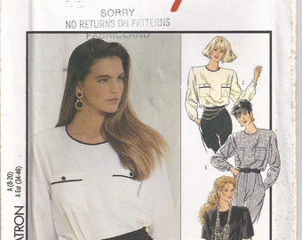 Loose Fitting Blouse Long Sleeves Buttoned Cuffs Size 8 10 12 14 16 18 20 Sewing Pattern Style 1837 Plus Size