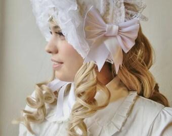 Elegantly Romantic White Lolita Bonnet