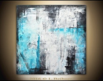 36 x 36 Abstract original painting large blue white square abstract oil painting modern art contemporary wall art decor by L.Beiboer