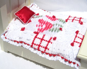 """Doll Quilt Red and White Chenille Quilt Patchwork Doll Quilt Doll Blanket for 10"""" Doll Small Doll Blanket Small Doll Christmas Quilt"""