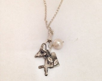 Silver Charm Necklace - Long Silver Necklace