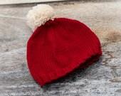 Baby Christmas Pom Pom Beanie Hat - hand knit, luxury yarn