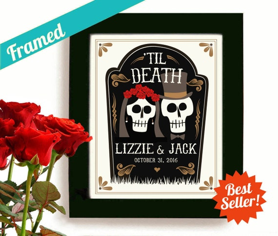 Halloween Wedding Gift Ideas: Halloween Wedding Gift Personalized Art Day Of The Dead By