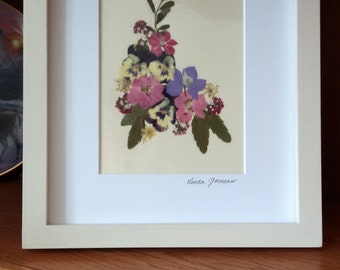 PRESSED FLOWER ART - Colorful Pressed Flowers Garden Bouquet, Matted Art Picture, Home Decor, Pink, Lavender, Purple, Yellow