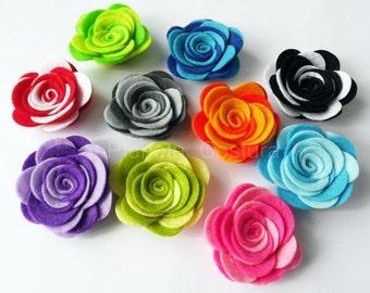 Felt flower. Two Colors, 10 pieces, Die Cut Shapes, Applique, Party Supply, DIY Wedding, double flowers, felt roses, roses
