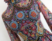 BYZANTINE PAISLEY . XS . Cotton Mix Voile Psychedelic Sultry Print Maxi Dress 70s