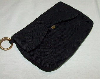 Vintage 1940's Black CORDE Clutch Purse w/ Metal Belt Ring