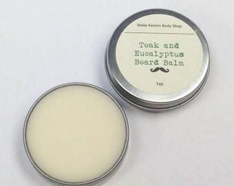 Teak and Eucalyptus or Cedar and Sandalwood Beard Balm, Skin Care for Men