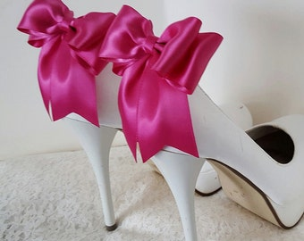 Satin Bow Shoe Clips, Wedding Shoe Clips, Bridal Shoe Clips, Magenta, Shoe CLips,  Shoe Clips for Wedding Shoes, Bridal Shoes, MANY COLORS