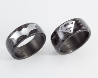 set of two carbon fiber batman and superman rings exclusive black glossy bands 01906_8n8n - Superman Wedding Ring