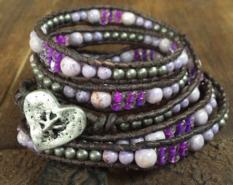 Purple Beaded Leather Wrap bracelet with a silver heart