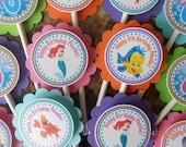 Little Mermaid Cupcake Toppers-Ariel Cupcake Toppers-Little Mermaid Birthday Decoration-Little Mermaid Party Decoration-Ariel Party Decor