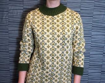 ON SALE Vintage Handmade Unisex Kaleidoscopic Pattern Knit Sweater