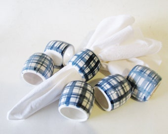 Blue and White Napkin Rings, Hand Painted Napkin Rings, Plaid, Set of Six, Chinoiserie