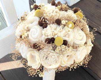 Ready to Ship! Alternative Wildflower Bridal Bouquet, Sola Flowers, Ivory, Yellow, Billy Buttons, Pine Cones, Million Star Flowers, Wedding