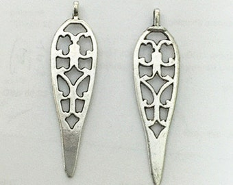 25pcs Antique Silver Long Teardrop Charm Pendants 12x38mm flower bail M403-4