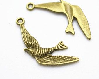 Swallow Bird Charms -20pcs Antique Bronze Sparrows Charm Pendants 22x32mm D303-3