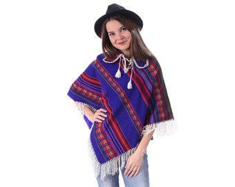 Mexican Wool PONCHO Vintage 70s Purple Blue Red Blanket Wrap Large Fringed Woven Retro Peruvian Cape Hippie Bohemian Topcoat Urban . XS to S