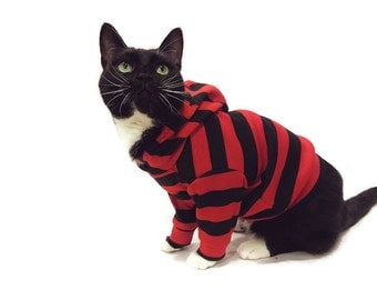 Red and Black Striped Cat Hoodie-Cat Hoodies-Striped Cat Hoodie-Cat Clothes-Cat Sweater-Cat Clothing-Cat Shirt-Cat Sweatshirts-Cat Shirts