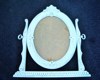Vintage White Oval Tilt Table Picture Frame Mirror on Stand Shabby Victorian Dresser Rotatable