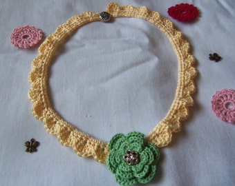 Yellow Crochet Necklace. Handmade Crochet Necklace.