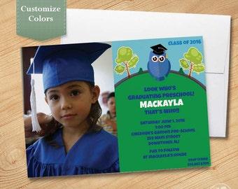 Owl Photo Pre-School Graduation Invitation, Kindergarten Graduation Invite, Graduation Announcement, Printed Invitation, Printable PDF