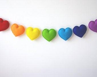 Rainbow Hearts, Heart Garland, Rainbow Garland, Rainbow Bunting, Rainbow Banner, Rainbow Nursery, Rainbow Baby gift, Product ID: LRZ4358