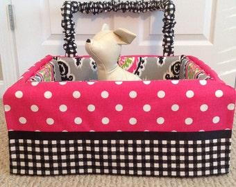 Dog Car Seat MEDIUM ***Ready Made Hot Pink / White / Black / Grey Dot, Gingham, Floral *** by FancyFido