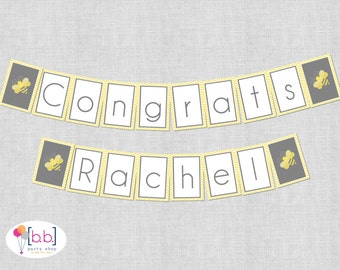Bee What Will It Baby Shower Banners Gray Yellow Printable