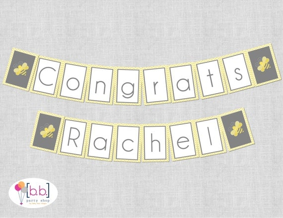 Bee- What will it Bee Baby Shower Banners (gray & yellow)- Printable or Shipped