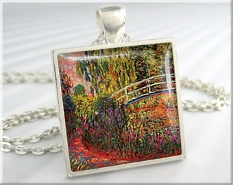 Monet Irises Pendant, Bridge Over Pond, Claude Monet Water Irises, Art Necklace, Garden Art Charm, Square Silver, Gift Under 20 (740SS)