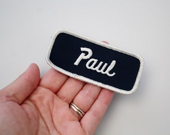 Vintage Embroidered Name Patch - PAUL Sew On Patch - Factory Patch - Bowling Shirt Patch