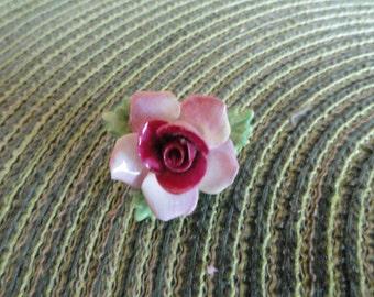 B218)  Vintage Coalbrook Rose Flower China Brooch