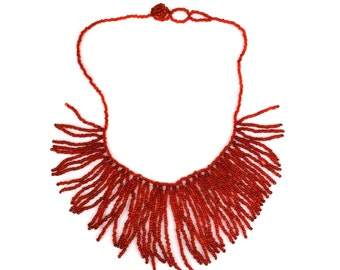 Vintage Red Beaded Fringe Necklace // 1970s Cherry Red Seed Bead Bib Tassel Statement Choker Necklace