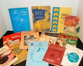 Lot of Vintage Mid Century Cookbooks 1930s - 1950s  (13 of them)