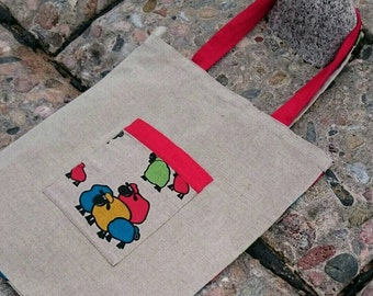 Eco friendly bag, linen bag, bright tote, fun tote bag, tote bag, tote with pockets,  sheep tote, sheep print