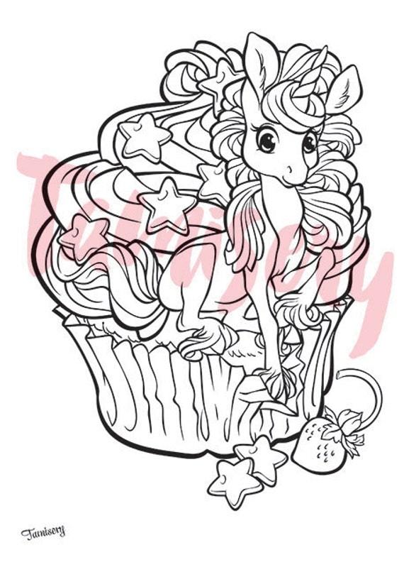 Cupcake loving Unicorn 8.5x11 printable coloring page. Adult